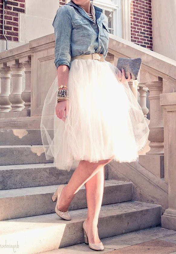 Womens Sheer Short Tulle Skirt Princess Fairy Style Fashion Sash Knee Length Tutu Skirt Casual Solid Saia Longa
