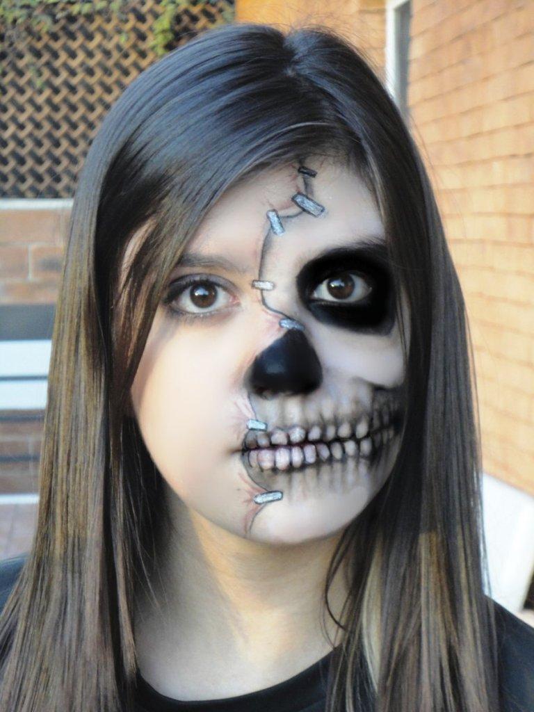 Half Face Skull Halloween Makeup
