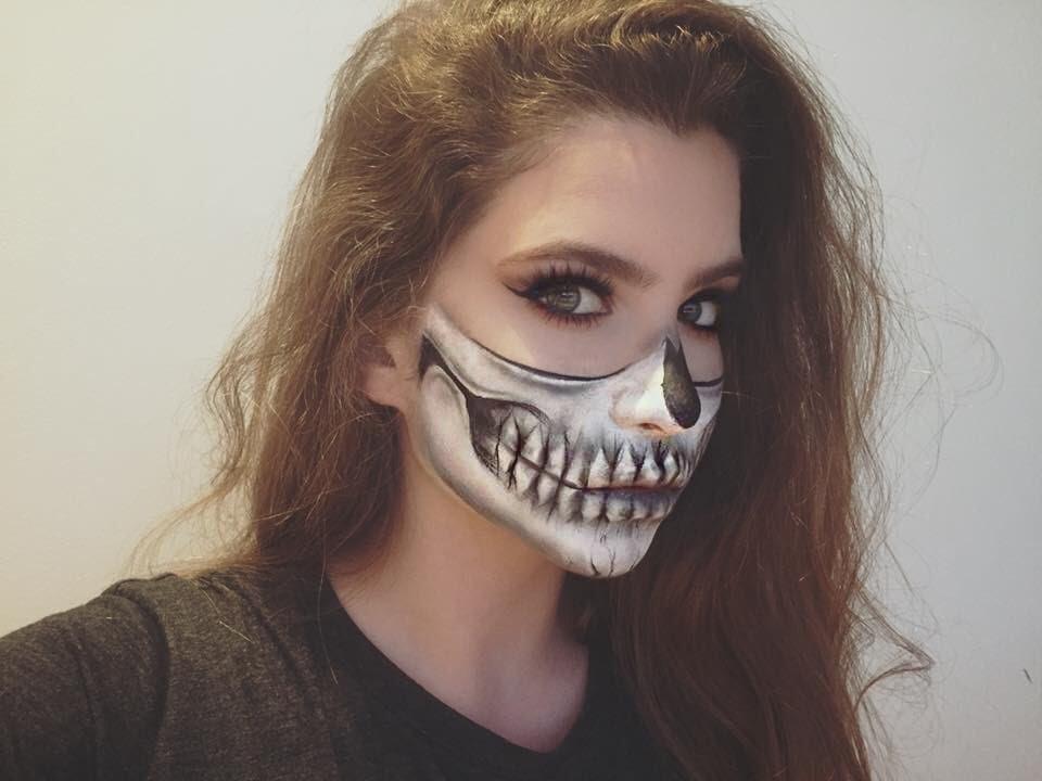 Halloween Half Skull Makeup Tutorial