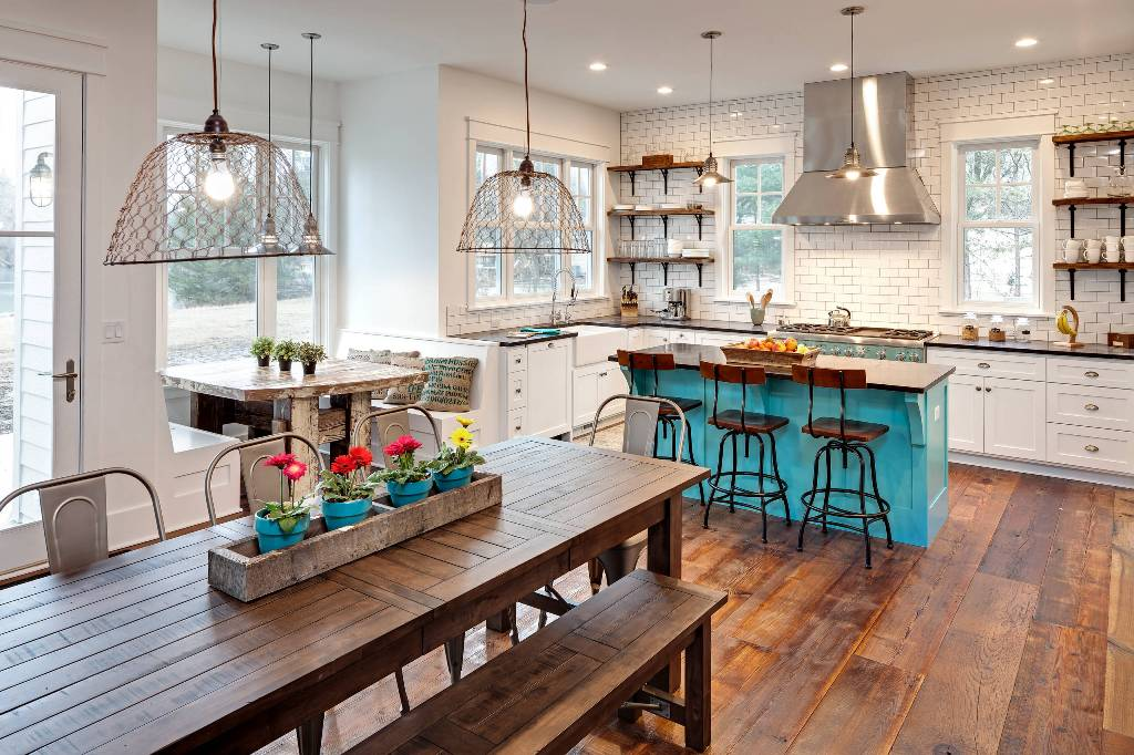 Eclectic Kitchen with White Backsplash Design