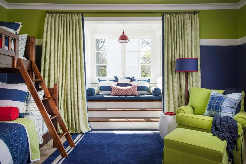 Blue And Green Mix Kids Bedroom With Window Seat