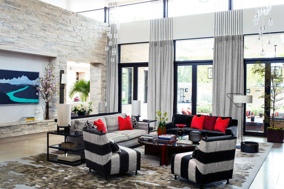 black and white combination livin room