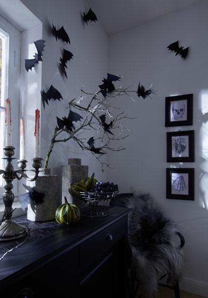 halloween decorations party black paper bats branches walls