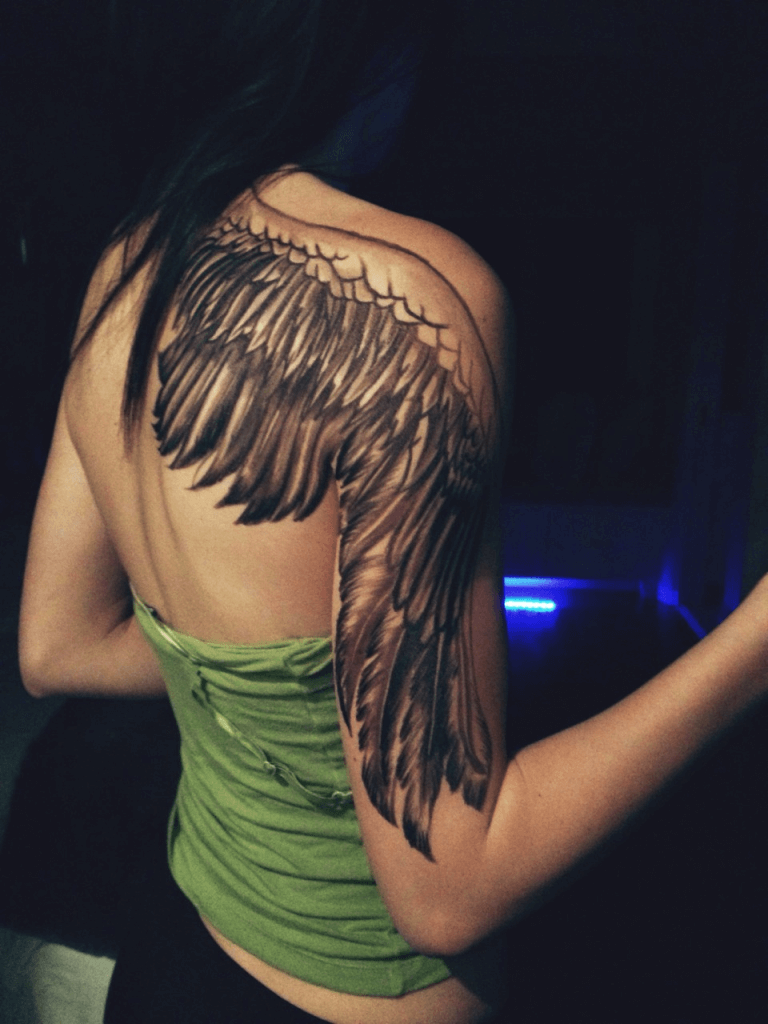 Angel Wing Tattoos on Back and Arms