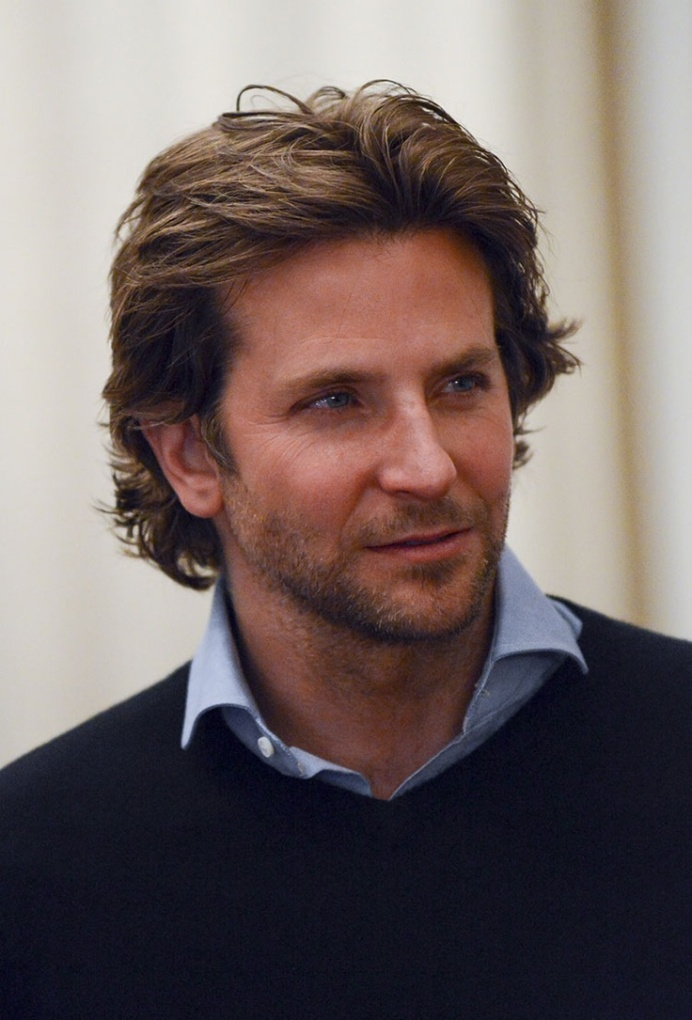 Bradley Cooper Middle Part Long Hairstyle