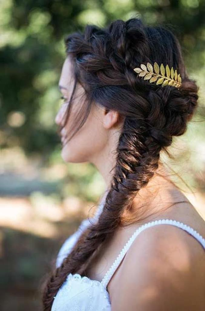 Fishtail Braid Hairstyles With Laurel Wreath