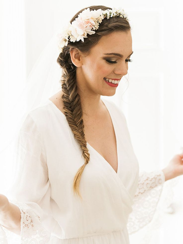Fishtail Side Braid With Flower Crown