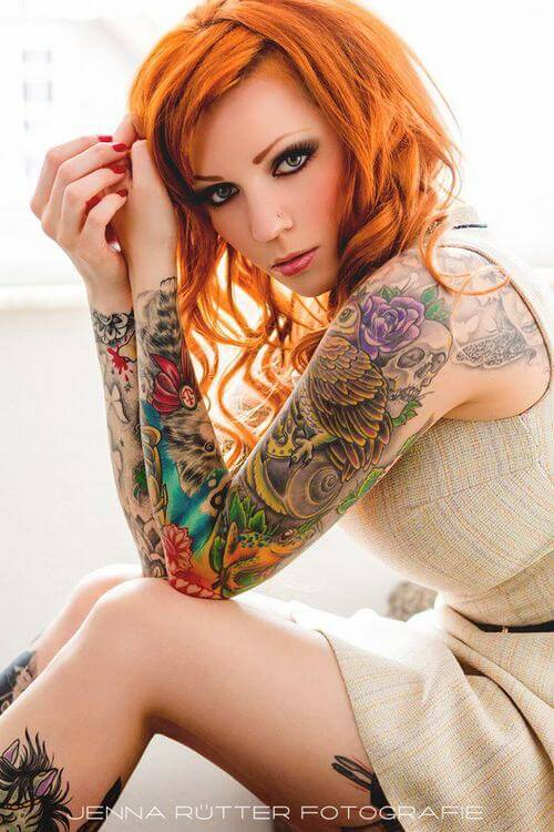 Full Hand Colorful Tattoo For Women