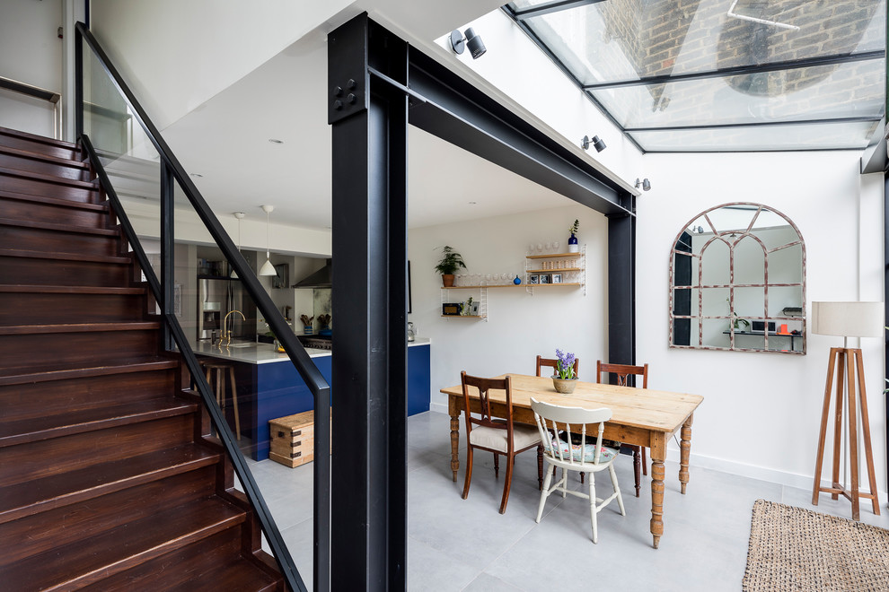 Natural Light Glass Roof in Kitchen With Stylishly Exposed Steel Beams
