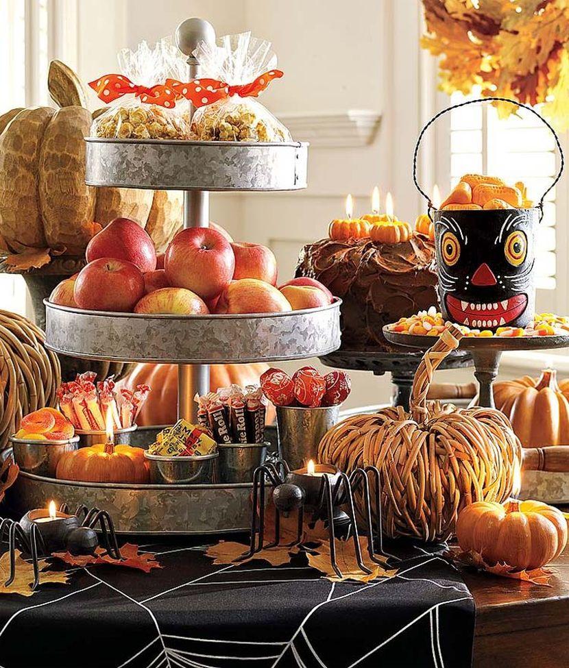 Rustic Halloween dessert table decor