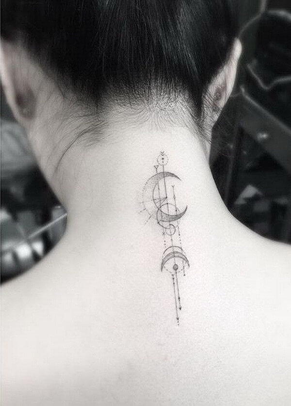 Simple Moon Back of Neck Tattoo
