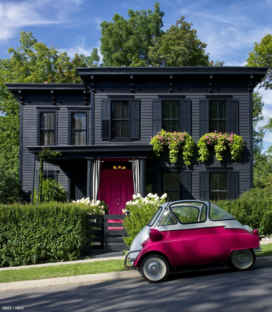 All Black With Bold Pink Door