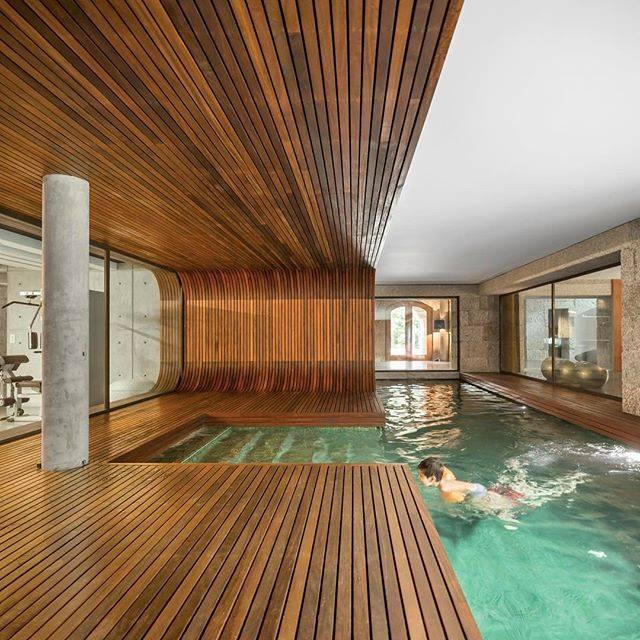 Contemporary Wooden Work Indoor Pool