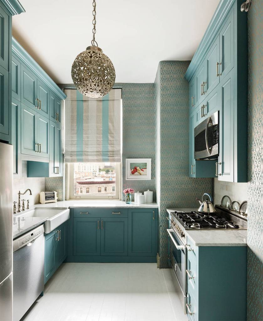 Narrow Vertical Shape Dark Turquoise Cabinet