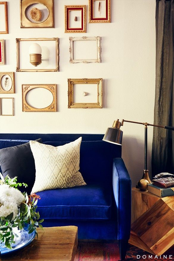 Navy Blue Velvet Couch