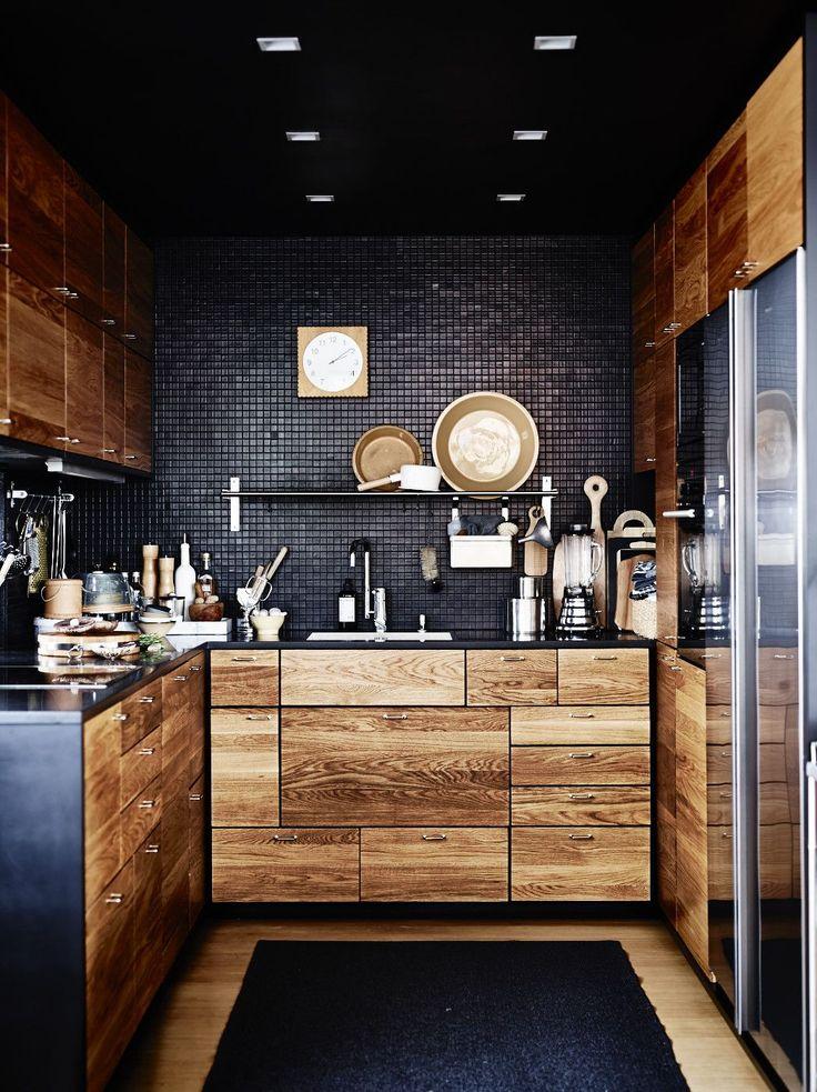 Stylish Small Black Kitchen Design