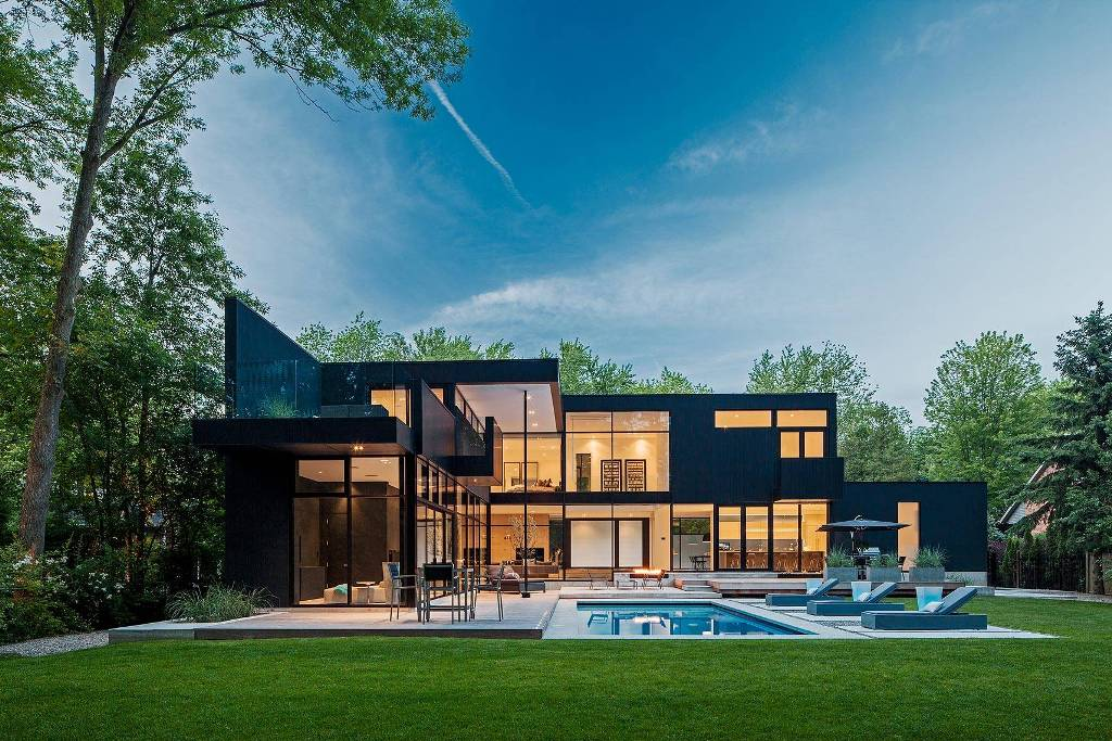 Ultra Modern Family Home Black Two-story Exterior