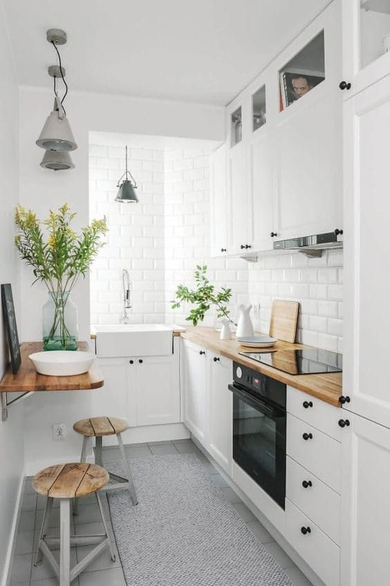 White Brick Wall Small Kitchen Design