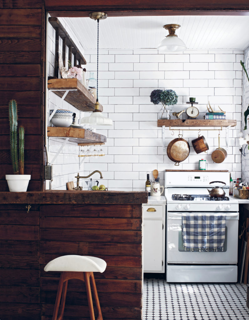 White Tile With Natural Wood Rustic Kitchen