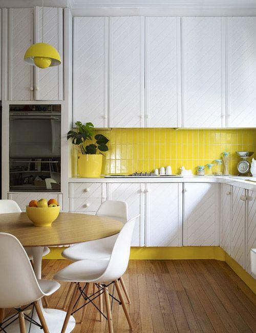 Yellow and White Wood Kitchen