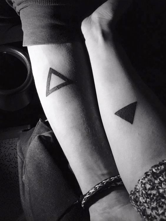 Couple Love Tattoo Black Triangle