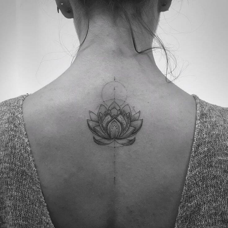 Fine Line Lotus Tattoo on Back For Girls