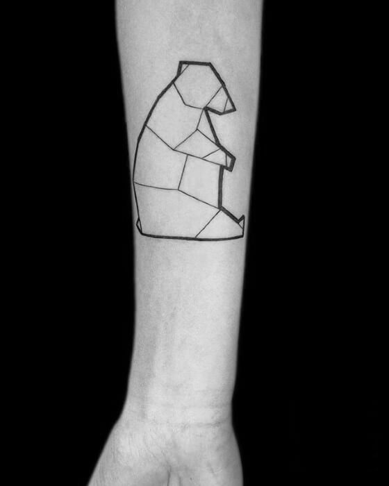 Geometric Bear Line Tattoo on Inner Forearm