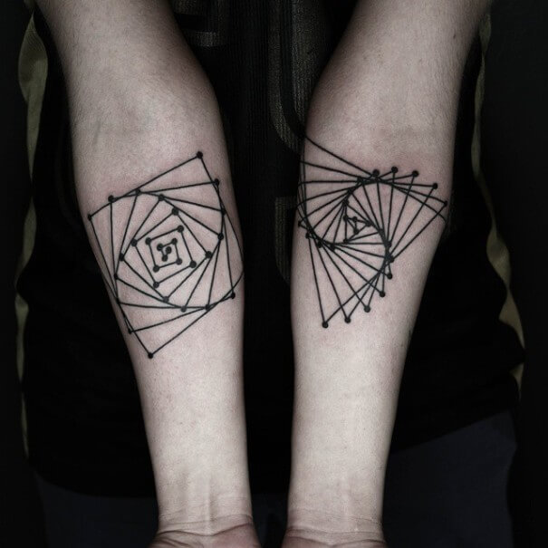 Geometric Line Black White Hand Tattoo
