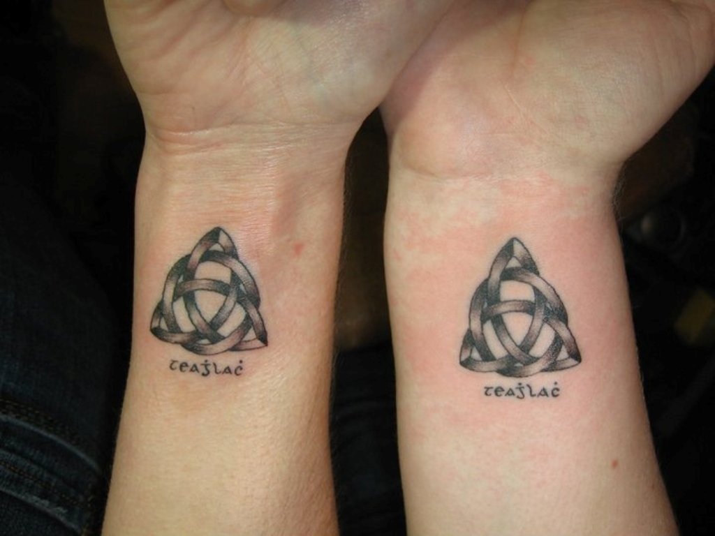 Infinite Celtic Knot Triangle Couple Tattoo