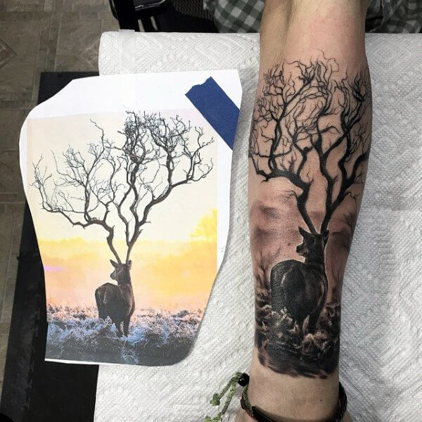 26 Deer Tattoos: 30 Tree-Themed Deer Tattoo Design For Love Of Nature And