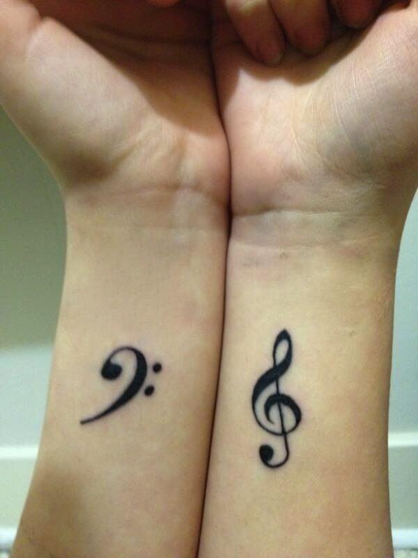 Music Key Cute Tattoo on Wrist