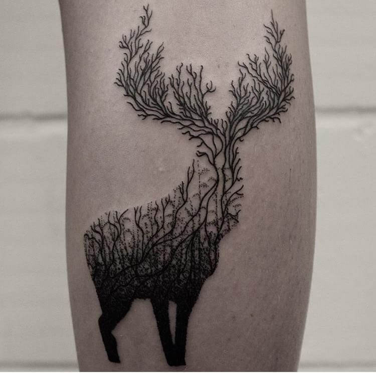 Tree-Themed Deer Tattoo Design For Love of Nature and Animals
