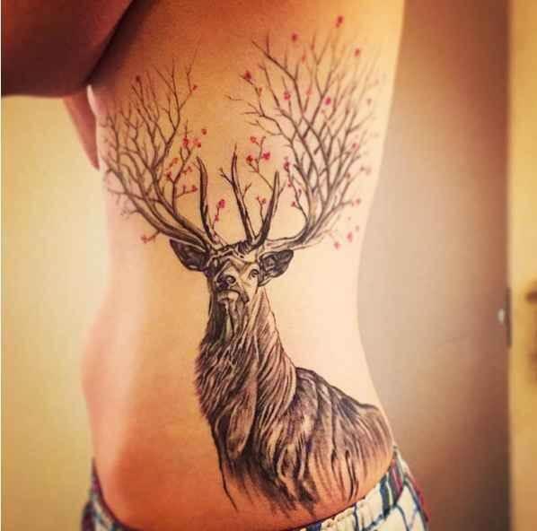 Tree-Themed Deer Tattoo