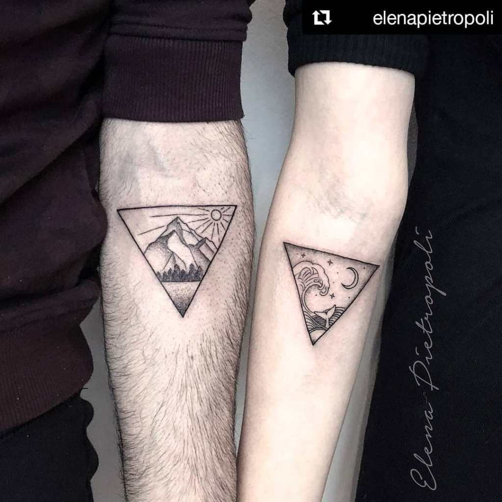 33 triangle couple tattoo designs for the love of geometry. Black Bedroom Furniture Sets. Home Design Ideas