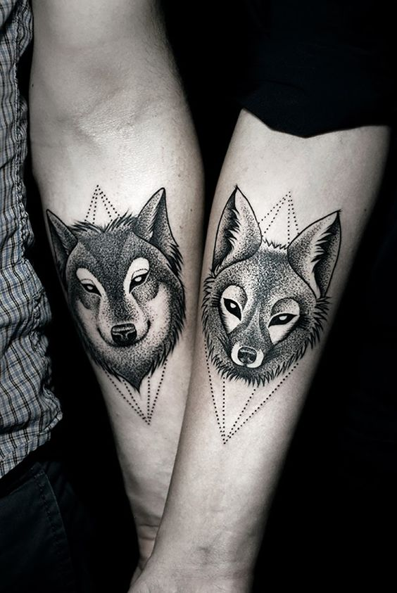 Triangle Couple Wolf Tattoo