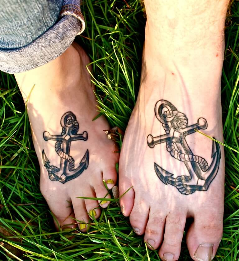 Matching Couple Snake Surrounded Anchor Tattoo on Feet