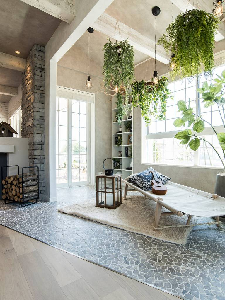 White Beams Hanging Plants Eclectic Sunroom