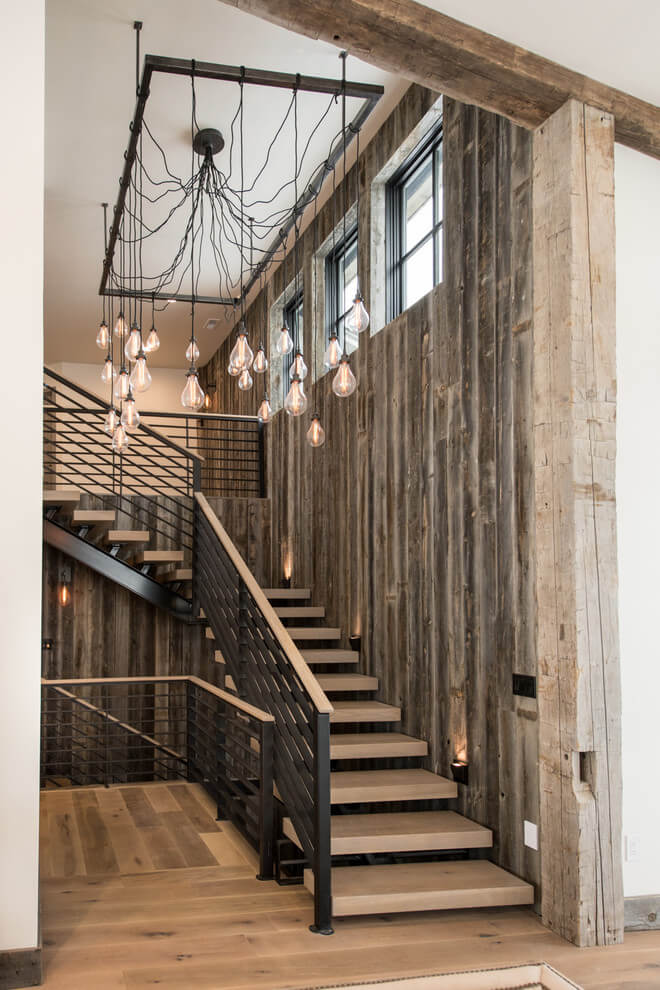 Rustic Staircase Stylish LED Lights
