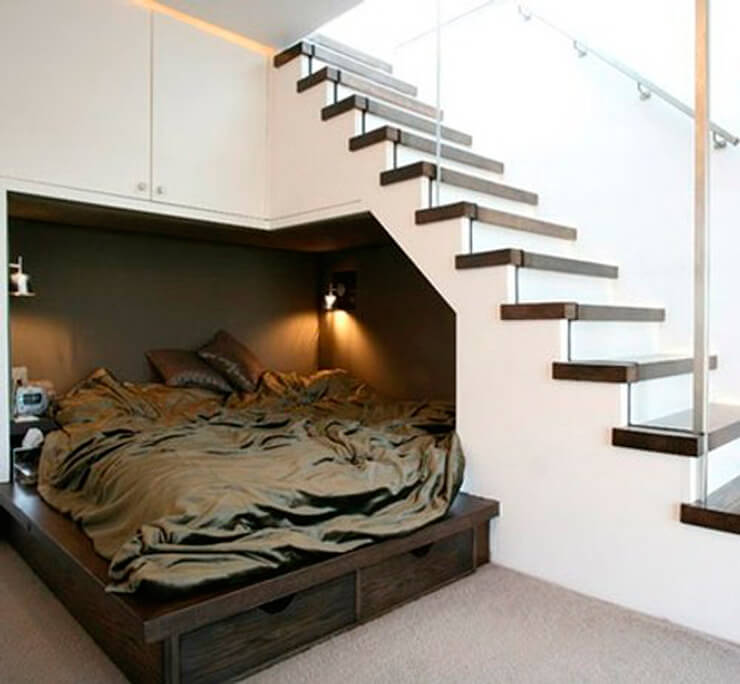 Under the stairs alcove bed