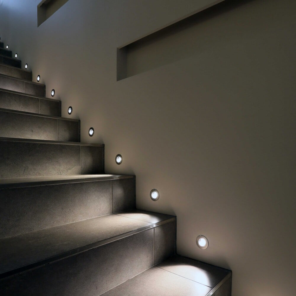 Wall Recessed Stair Light at Every Step