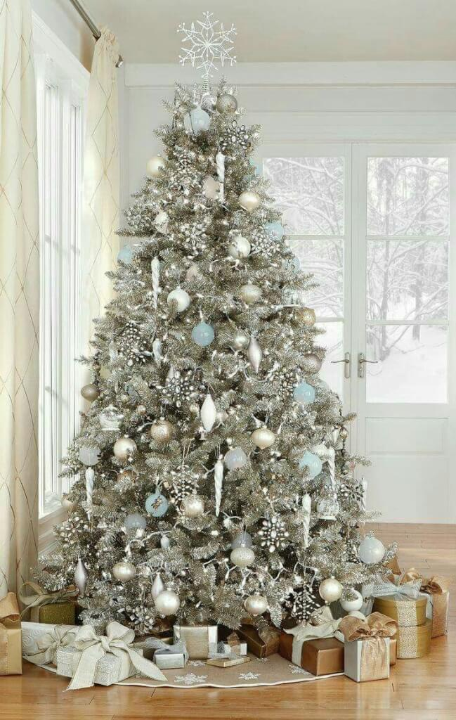 glittering silver white christmas tree - White Christmas Tree Decorations