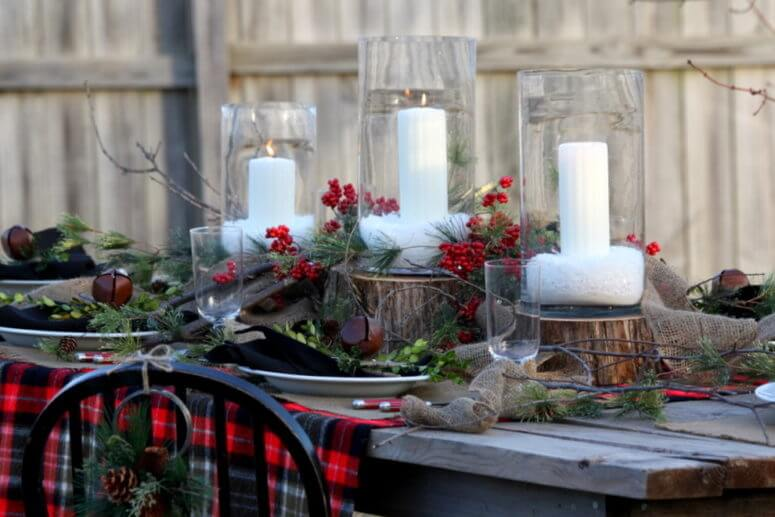 Outdoor Rustic Christmas Table Centerpiece