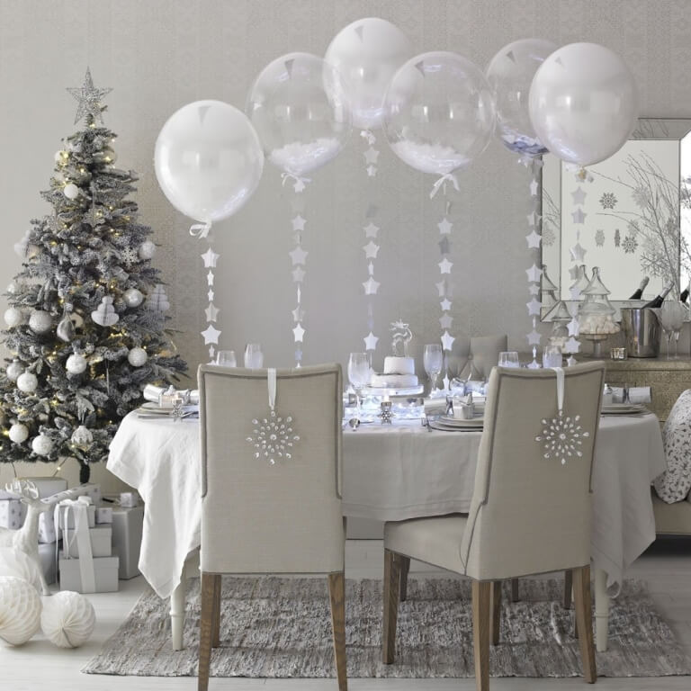 4 silver white tree dining room - Silver And White Christmas Tree Decorations