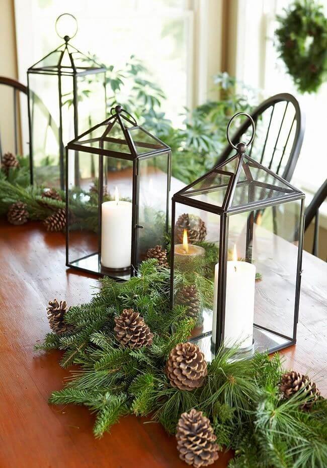 Candle Lanterns Christmas Tablescape