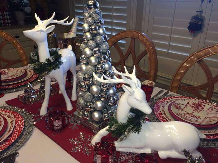 Deer And Christmas Topiary Centerpiece