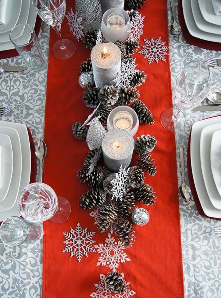 Glamorous Red Grey Christmas Tablescape