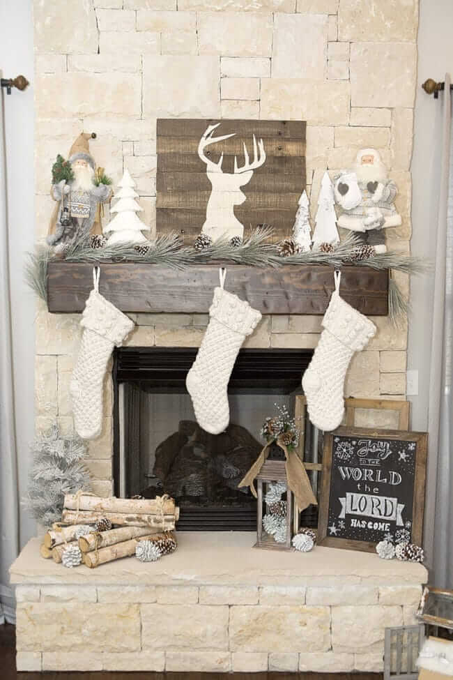 Rustic Neutral Christmas Fireplace Decor