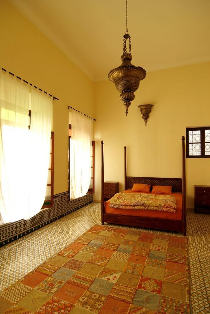 Vibrant Yellow Moroccan Bedroom Design