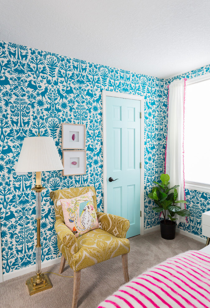 Eclectic Bedroom With Turquoise Wallpaper