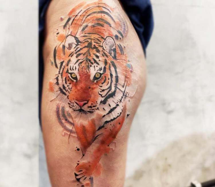 Watercolor Tiger Ink Design